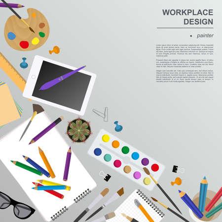 office desktop: Workspace of the painter, artist. Mock up for creating your own modern creative office desktop workshop style. Flat design vector mock up. Vector illustration