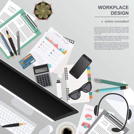 videographer: Workspace of the online consultant. Mock up for creating your own modern creative office desktop workshop style. Flat design vector mock up. Vector illustration