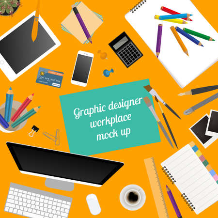 videographer: Workspace of the graphic designer. Mock up for creating your own modern creative office desktop workshop style. Flat design vector mock up. Vector illustration