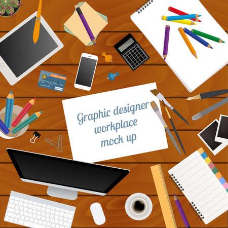 office desktop: Workspace of the graphic designer. Mock up for creating your own modern creative office desktop workshop style. Flat design vector mock up. Vector illustration