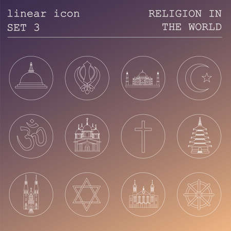 religion: Outline icon set Religion in the world. Flat linear design. Vector illustration