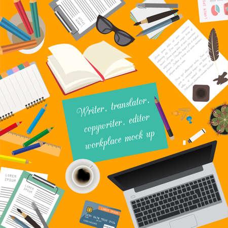 videographer: Workspace of the writer, translator, copywriter, editor. Mock up for creating your own modern creative office desktop workshop style. Flat design vector mock up. Vector illustration
