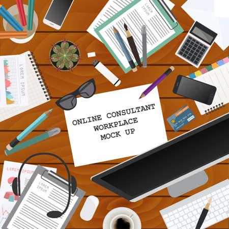 office desktop: Workspace of the online consultant. Mock up for creating your own modern creative office desktop workshop style. Flat design vector mock up. Vector illustration