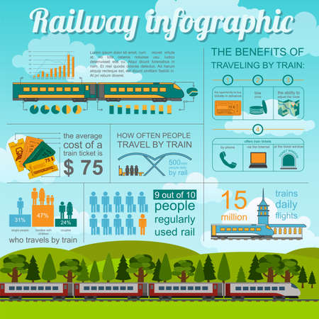 metro train: Railway infographic. Set elements for creating your own infographics. Vector illustration