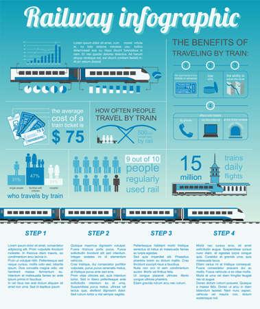estacion de tren: Infografía Ferrocarril. Establecer elementos para crear sus propias infografías. Ilustración vectorial Vectores