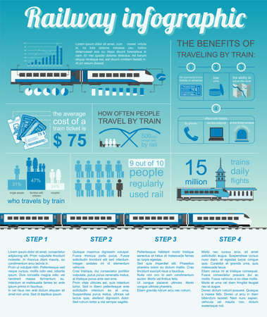 electric train: Railway infographic. Set elements for creating your own infographics. Vector illustration