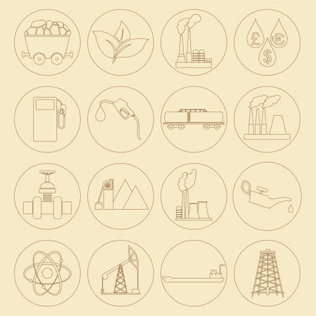 gaseous: Set 16 fuel and energy icons. Vector illustration Stock Photo