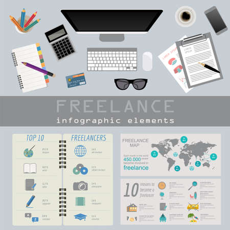 freelance: Freelance infographic template. Set elements for creating you own infographic. Vector illustration