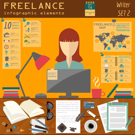 copywriter: Freelance infographic template. Set elements for creating you own infographic. Vector illustration