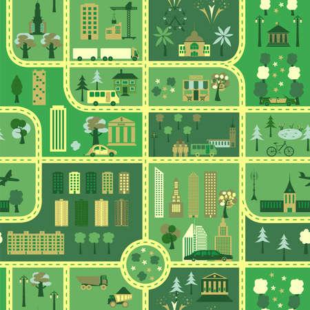 City map seamless pattern. Vector illustration illustration