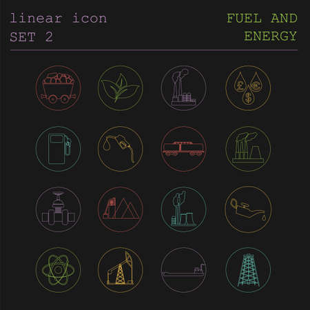 gaseous: Outline icon set Fuel and energyl. Flat linear design. Vector illustration Stock Photo