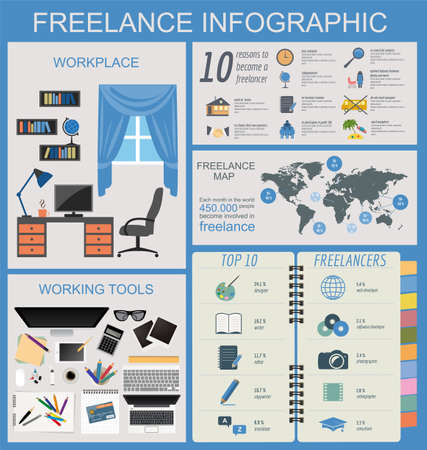 Freelance infographic template. Set elements for creating you own infographic. Vector illustration