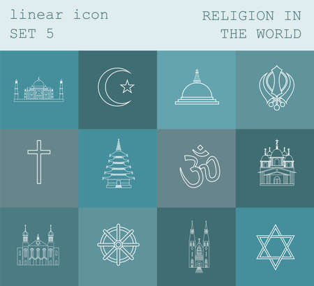 theology: Outline icon set Religion in the world. Flat linear design. Vector illustration