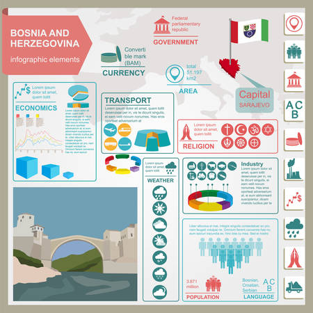 Bosnia and Herzegovina infographics, statistical data, sights. Vector illustration