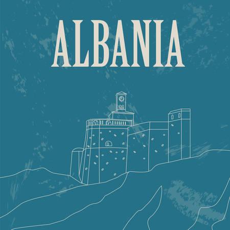 albanie: Rep�res Albanie. R�tro image de style. Vector illustration Illustration