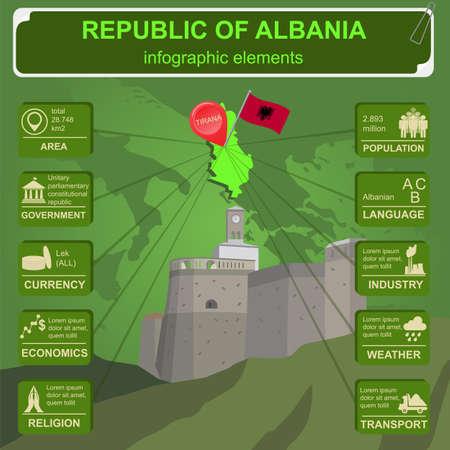 statistical: Albania  infographics, statistical data, sights. Vector illustration Illustration