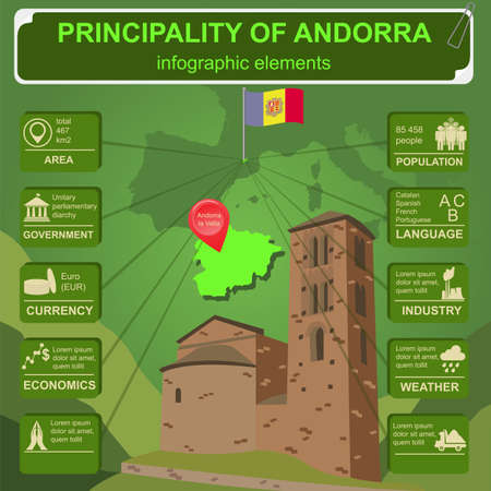 d data: Andorra  infographics, statistical data, sights. Vector illustration Illustration