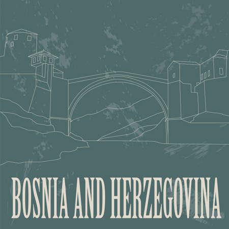 bosnian: Bosnia and Herzegovina landmarks. Retro styled image. Vector illustration