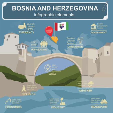 Bosnia and Herzegovina infographics, statistical data, sights. Vector illustration Vector