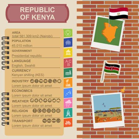 kenya: Kenya  infographics, statistical data, sights. Vector illustration