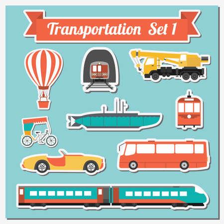transporte: Jogo de todos os tipos de transporte ícone para criar seus próprios infográficos e mapas. �gua, estrada, urbano, aéreo, carga, transporte público e conjunto de solo. Ilustração do vetor