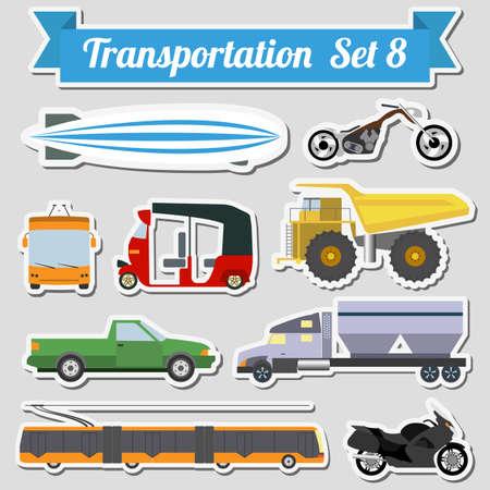 transporte terrestre: Conjunto de todos los tipos de icono de transporte para crear sus propias infografías o mapas. Agua, carretera, urbano, de aire, de carga, público y conjunto de transporte terrestre. Ilustración vectorial Vectores