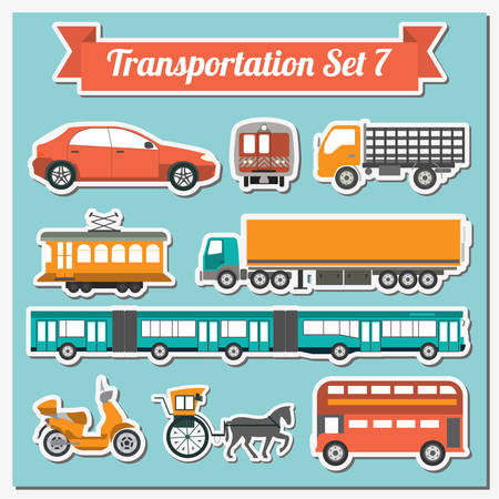 transport icon: Set of all types of transport icon  for creating your own infographics or maps. Water, road, urban, air, cargo, public and ground transportation set. Vector illustration Illustration