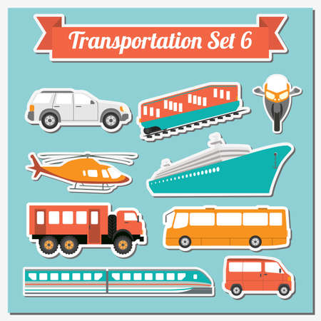 air cargo: Set of all types of transport icon  for creating your own infographics or maps. Water, road, urban, air, cargo, public and ground transportation set. Vector illustration Illustration
