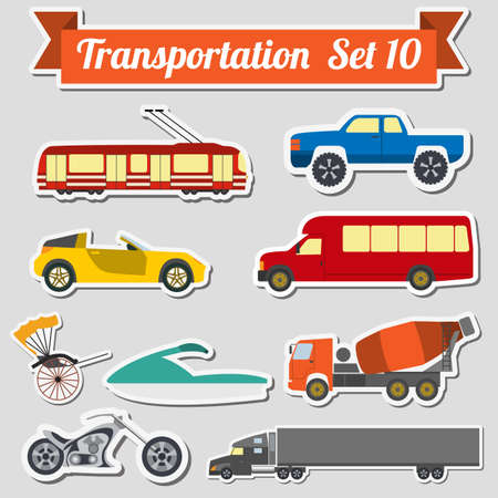 transporte terrestre: Conjunto de todos los tipos de icono de transporte para crear sus propias infograf�as o mapas. Agua, carretera, urbano, de aire, de carga, p�blico y conjunto de transporte terrestre. Ilustraci�n vectorial Vectores