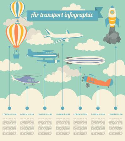 空気輸送のインフォ グラフィック要素。レトロなスタイルのイラスト。ベクトル  イラスト・ベクター素材