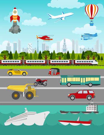 Transport infographics elements. Cars, trucks, public, air, water, railway transportation. Retro styled illustration. Vector Vectores