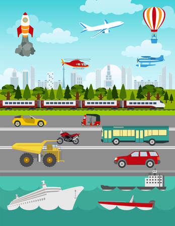 Transport infographics elements. Cars, trucks, public, air, water, railway transportation. Retro styled illustration. Vector Ilustração