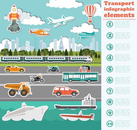 Transport infographics elements. Cars, trucks, public, air, water, railway transportation. Retro styled illustration. Vector Illustration