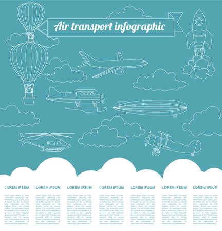 background information: Air transport infographics elements. Retro styled illustration. Vector