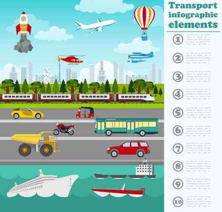 전송 infographics입니다 요소. 자동차, 트럭, 공중, 공기, 물, 철도 교통. 레트로 그림 스타일. 벡터 일러스트