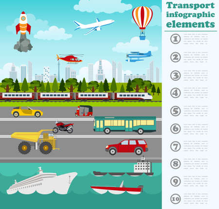 transport icon: Transport infographics elements. Cars, trucks, public, air, water, railway transportation. Retro styled illustration. Vector Illustration
