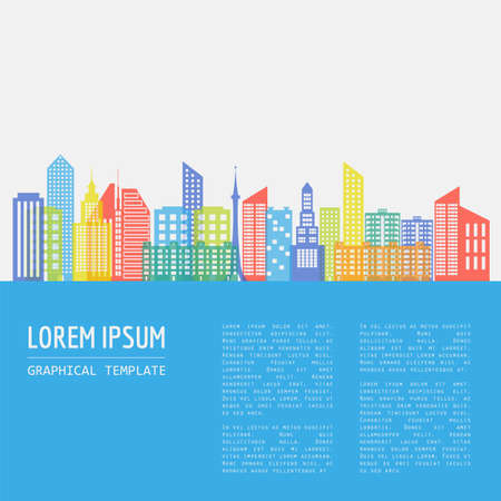 entertainments: Cityscape graphic template. Modern city architecture. Vector illustration with different modern city buildings, such as office buildings, skyscrapers, houses, entertainments. City constructor. Template with place for text. Colour version Illustration