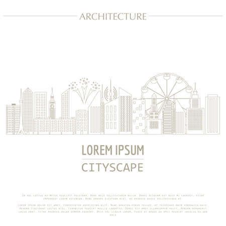 entertainments: Cityscape graphic template. Modern city architecture. Vector illustration with different modern city buildings, such as office buildings, skyscrapers, houses, entertainments. City constructor. Template with place for text. Outline version