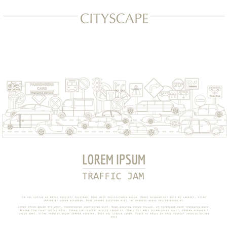 cars on road: Cityscape graphic template. Modern city. Vector illustration. Traffic jam, transport, cars, road signs. City constructor. Template with place for text. Outline version