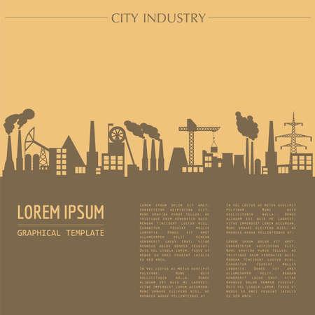 都市の景観グラフィック テンプレート。産業都市の建物。異なる産業建築物もベクトル イラスト。市のコンス トラクターです。テキスト テンプレ
