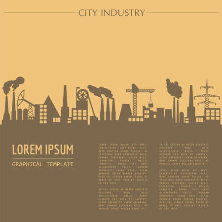 manufacturing: Cityscape graphic template. Industry city buildings. Vector illustration with different industrial buildings. City constructor. Template with place for text. Colour version Illustration