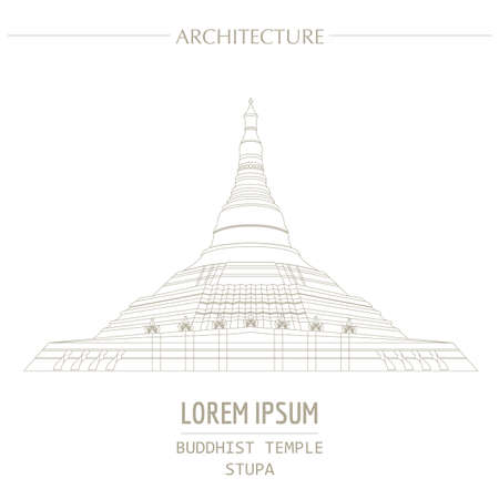 stupa: Cityscape graphic template. Modern city architecture. Vector illustration of Buddhist temple, stupa. City constructor. Template with place for text. Outline version Illustration