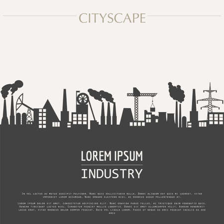industrial industry: Cityscape graphic template. Industry city buildings. Vector illustration with different industrial buildings. City constructor. Template with place for text. Colour version Illustration
