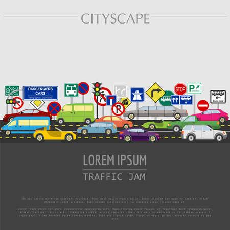 Cityscape grafische template. Moderne stad. Vector illustratie. Verkeersopstopping, vervoer, auto's, verkeersborden. Stad constructeur. Sjabloon met plaats voor tekst. Kleur versie Stockfoto - 42536997