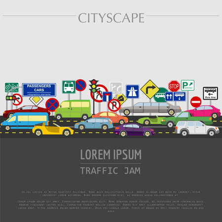 Cityscape graphic template. Modern city. Vector illustration. Traffic jam, transport, cars, road signs. City constructor. Template with place for text. Colour version Ilustrace