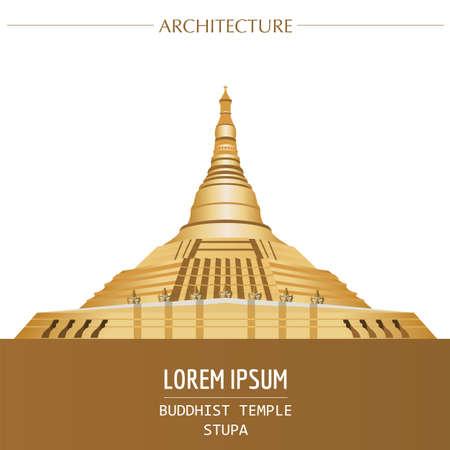 stupa: Cityscape graphic template. Modern city architecture. Vector illustration of Buddhist temple, stupa. City constructor. Template with place for text. Colour version