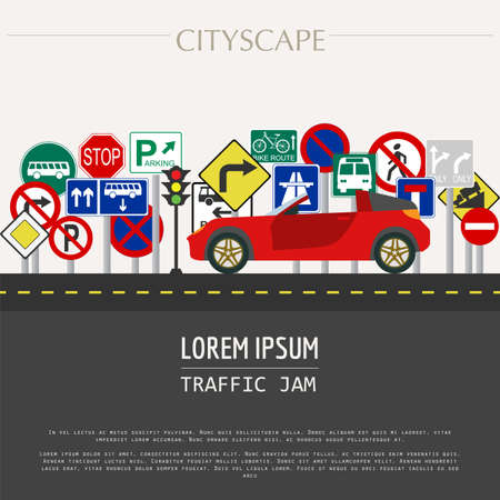 road traffic: Cityscape graphic template. Modern city. Vector illustration. Traffic jam, transport, cars, road signs. City constructor. Template with place for text. Colour version Illustration