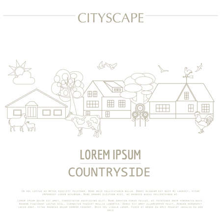 rural scene: Countryside graphic template. Village buildings, rural scene and farm animals. Vector illustration.. City constructor. Template with place for text. Outline version Illustration