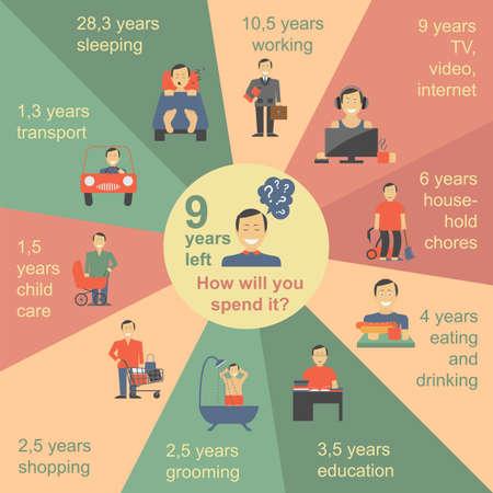 gente durmiendo: ¿Cuánto tiempo tenemos. Elementos de toda la vida. Infografía. Ilustración vectorial