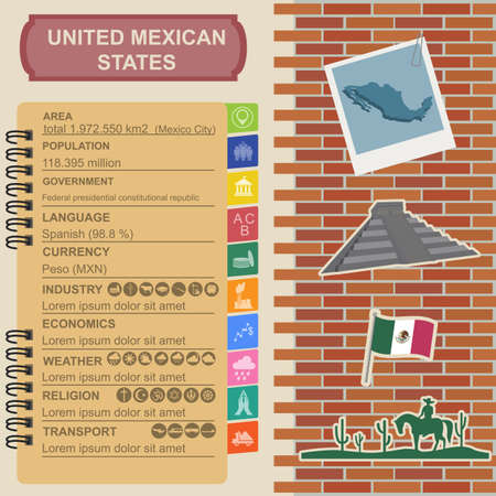 chichen itza: United Mexican States infographics, statistical data, sights. Vector illustration